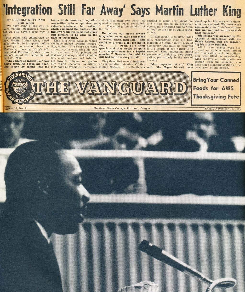 Vanguard story and Viking yearbook photo, via PSU Library University Archives.