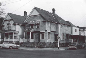 Photographed in May 1964, this duplex was demolished one month later. The site is the current location of Parking Structure 1.