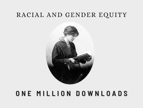 """A grey background with text reading, """"Race and gender equity. One million downloads."""" And an oval photo of Beatrice Morrow Cannady from 1912. Morrow Cannady was a co-founder of Portland's NAACP chapter."""
