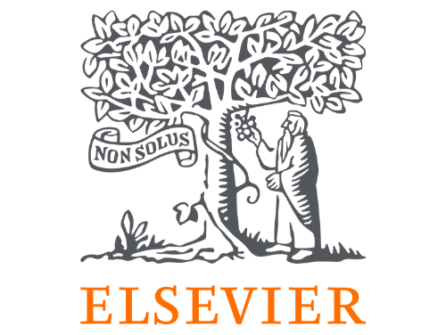 """Elsevier's logo: white background with a drawing in black of a person picking fruit from a tree. Orange lettering at the bottom reads, """"Elsevier"""" and black lettering reads, """"non solus."""""""