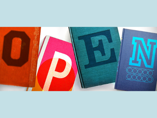 """Four books with letters on the covers that spell out \""""open.\"""""""