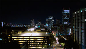 view of Portland State University at night