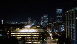 Portland State University at night