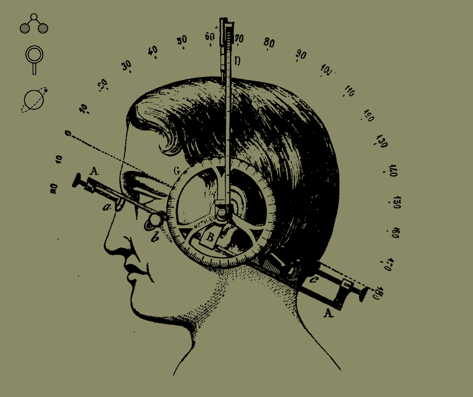 profile of a person with instruments attached