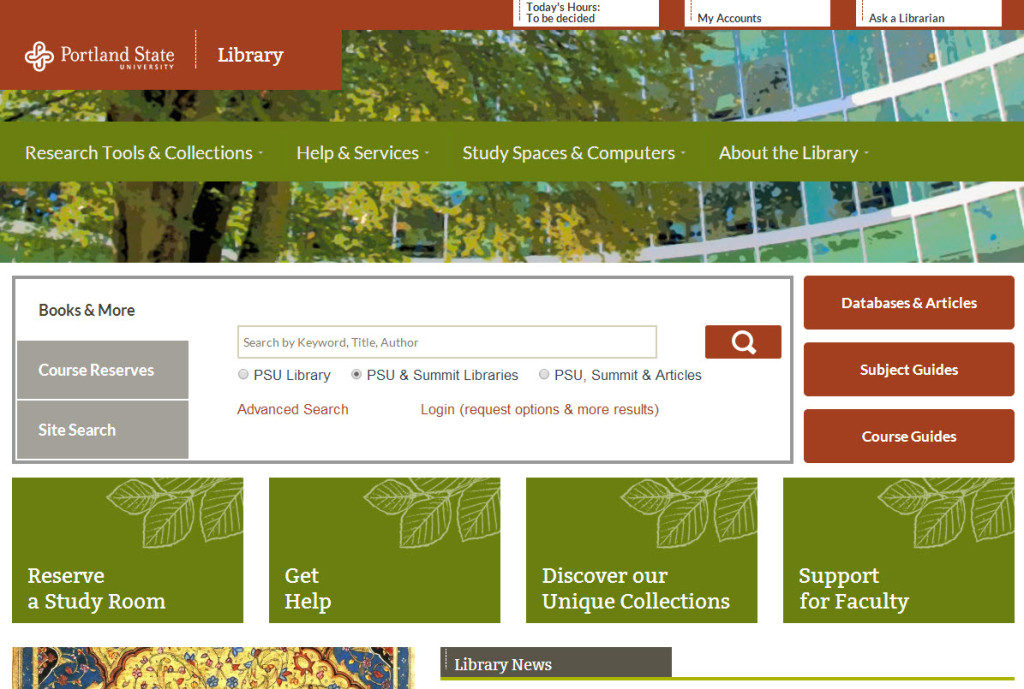 screenshot of library website on a desktop computer display