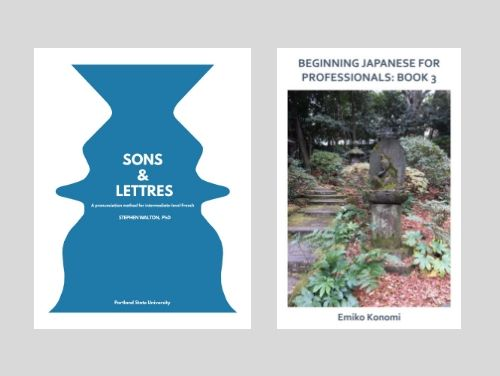 Covers of newly published textbooks