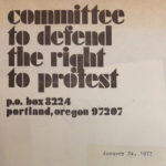Committee to Defend the Right to Protest letter 1975