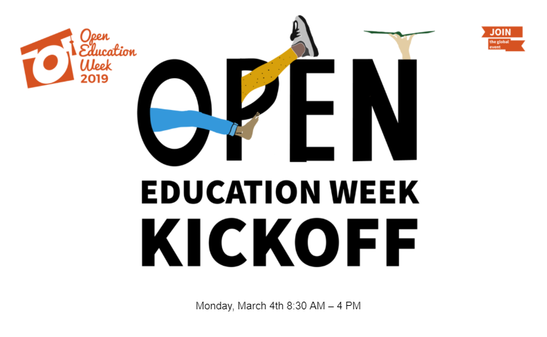 Open Education Week Kickoff with feet and a hand with open book