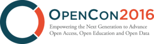 "Logo for OpenCon 2016. Slogan reads ""empowering the next generation to advance open access, open education and open data."""