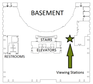 Map of viewing station location - Basement south side