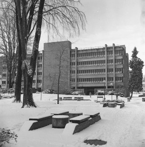 PSU Library in the snow in 1982.