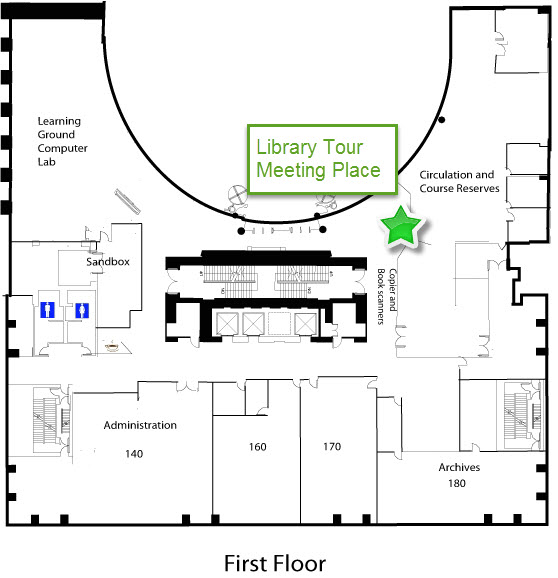 map of first floor with circulation desk indicated