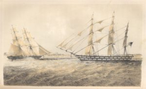 "U.S. Naval Brig ""Perry"" (left) approaching American slave vessel ""Martha"" (right). The image is reproduced courtesy of the Robert W. Woodruff Library, Emory University."