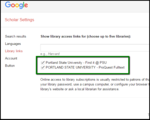 Library links setting in Google Scholar, with PSU resources checked