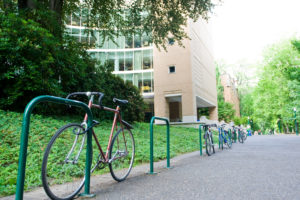 Front of the PSU Library and bike racks for spring break