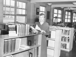 "Dr. Black in the library in ""Old Main"" (Lincoln Hall), 1951."