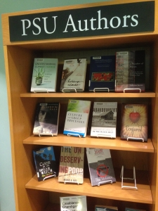 new display of books written by PSU faculty and staff