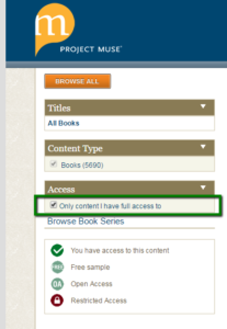 "Project Muse ebooks option to select ""only content I have full access to"" is turned on"