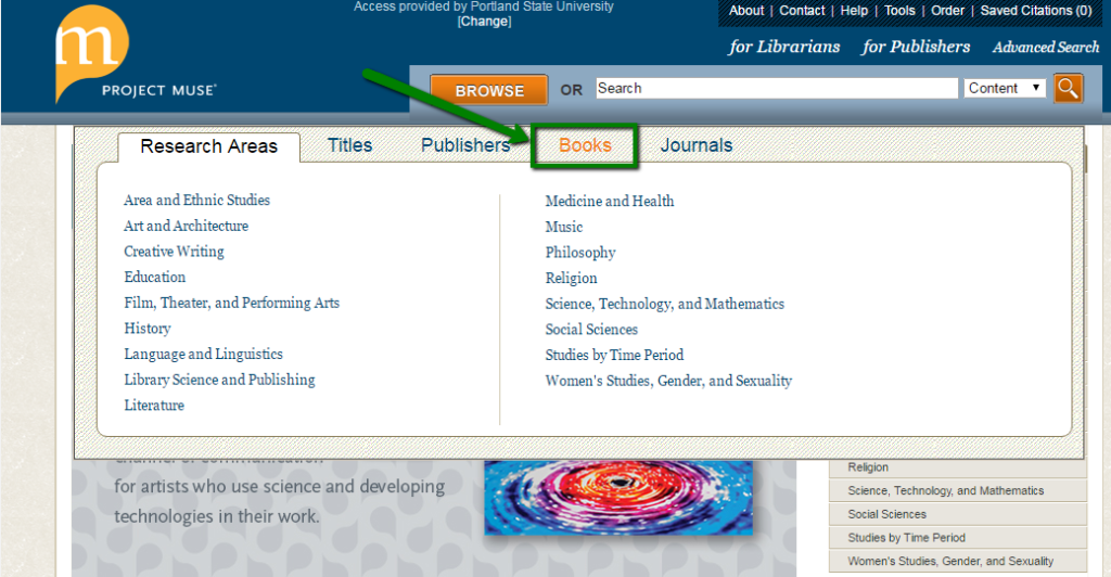 Project Muse ebooks home page, within browse menu, with Books link highlighted