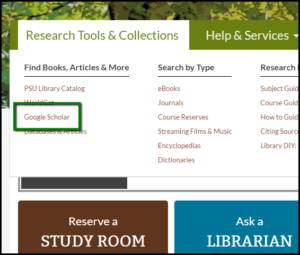 PSU Library website area for Research Tools & Collections with Google Scholar link highlighted