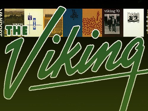 The Viking Yearbooks logo with cover thumbnails from various years