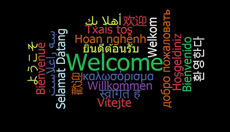 Word cloud with Welcome written in 20 languages