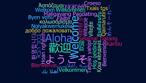 Word cloud with welcome in many languages