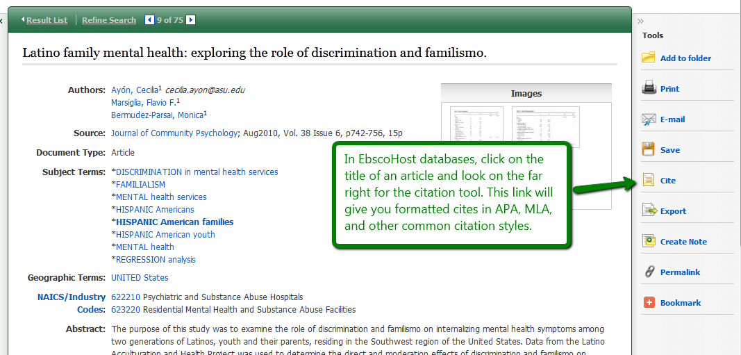 Screenshot of EBSCO's Cite option to create citations in common styles