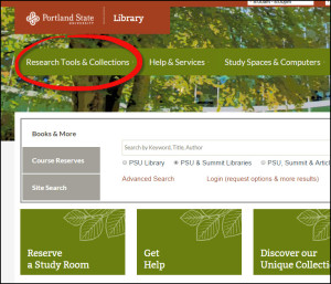 Screenshot of front page of library website with Research Tools & Collections highlighted