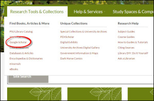 Screenshot of Research Tools & Collections sub-menu