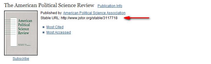 Screenshot of JSTOR