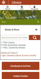 screenshot of library website on a smartphone display