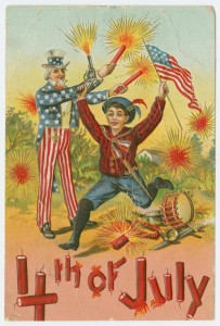 Circa 1911 postcard depicting 4th of July illustrations