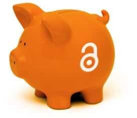 piggy bank with open access symbol
