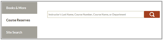 Course reserve tab selected in library search